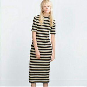 Zara Multi Colored Midi Dress - Sz S (EUC)